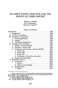 ex parte patent practice and the rights of third parties