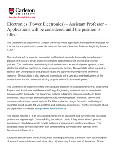 (Power Electronics) – Assistant Professor