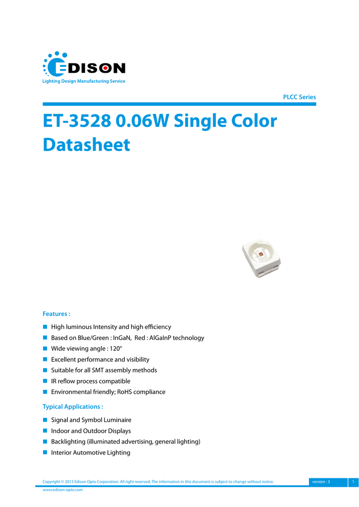 Et 3528 006w Single Color Datasheet