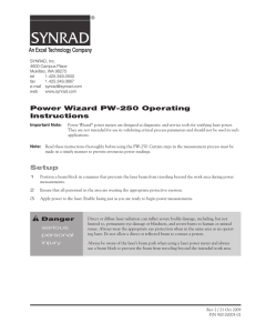 SYNRAD Power Wizard PW-250 Operating Instructions