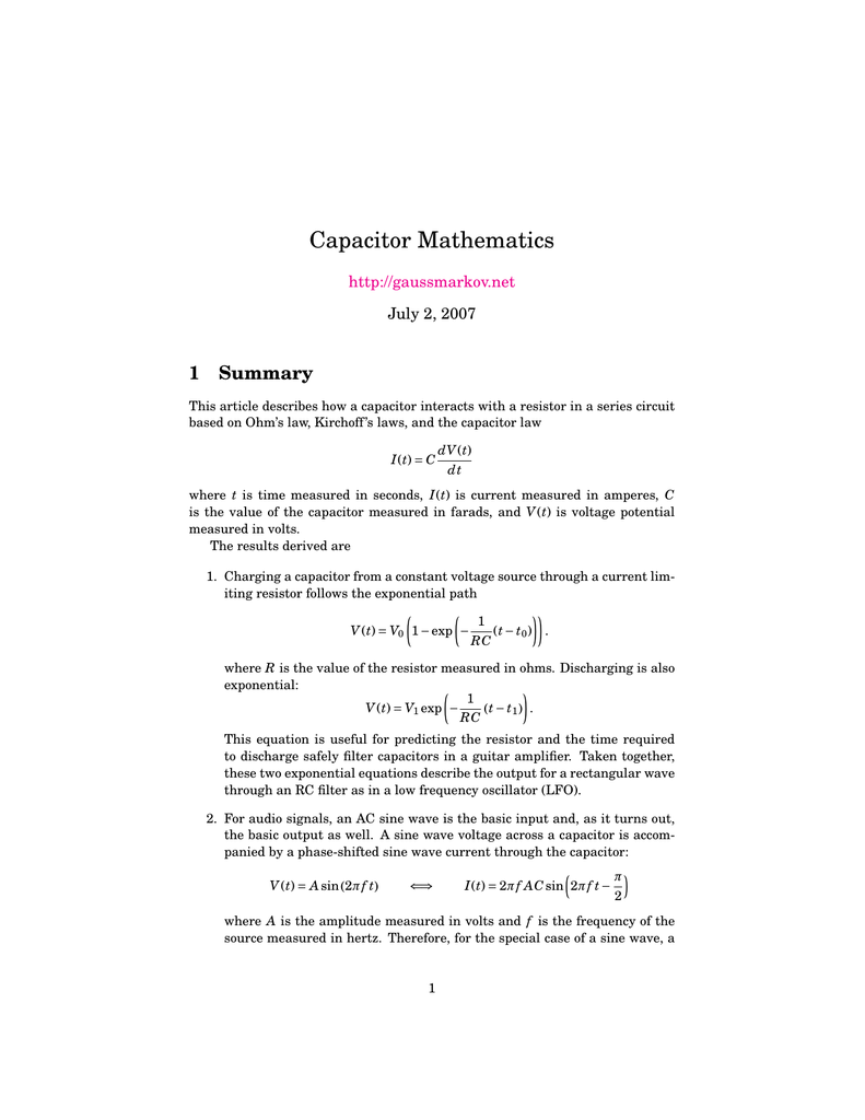 Capacitor Mathematics