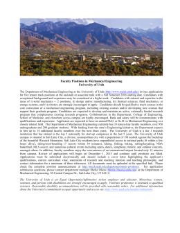 Faculty Positions in Mechanical Engineering University of Utah