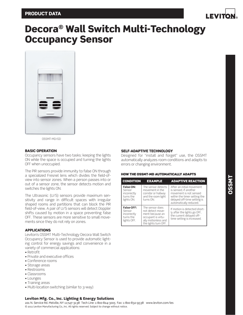 Decora Wall Switch Multi Technology Occupancy Sensor Mini Pir Motion W Built In Timer Switches Relays