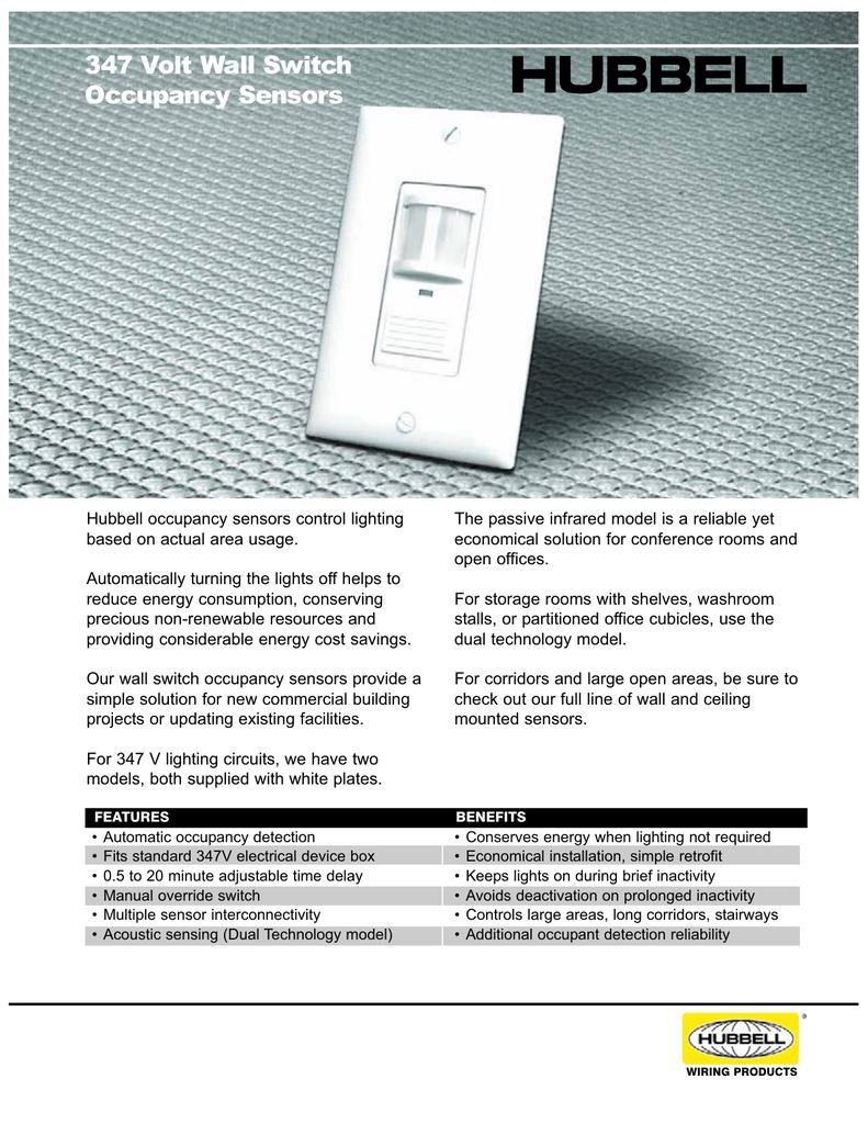 347 Volt Wall Switch Occupancy Sensors