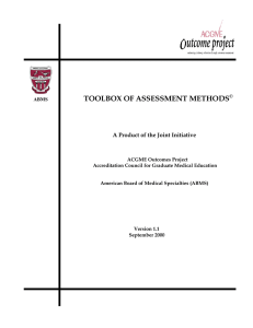 ACGME and ABMS Toolbox of Assessment Methods
