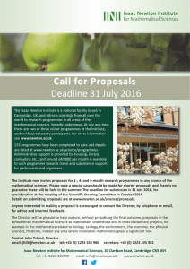 Call for Proposals Deadline 31 July 2016