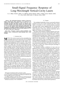 Small-signal frequency response of long-wavelength vertical