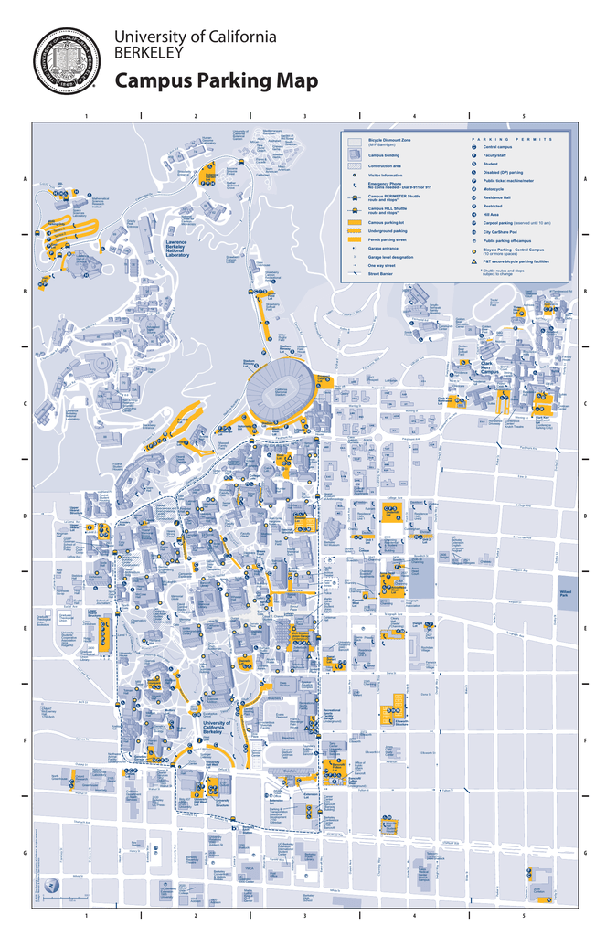 Campus Parking Map University Of California Berkeley