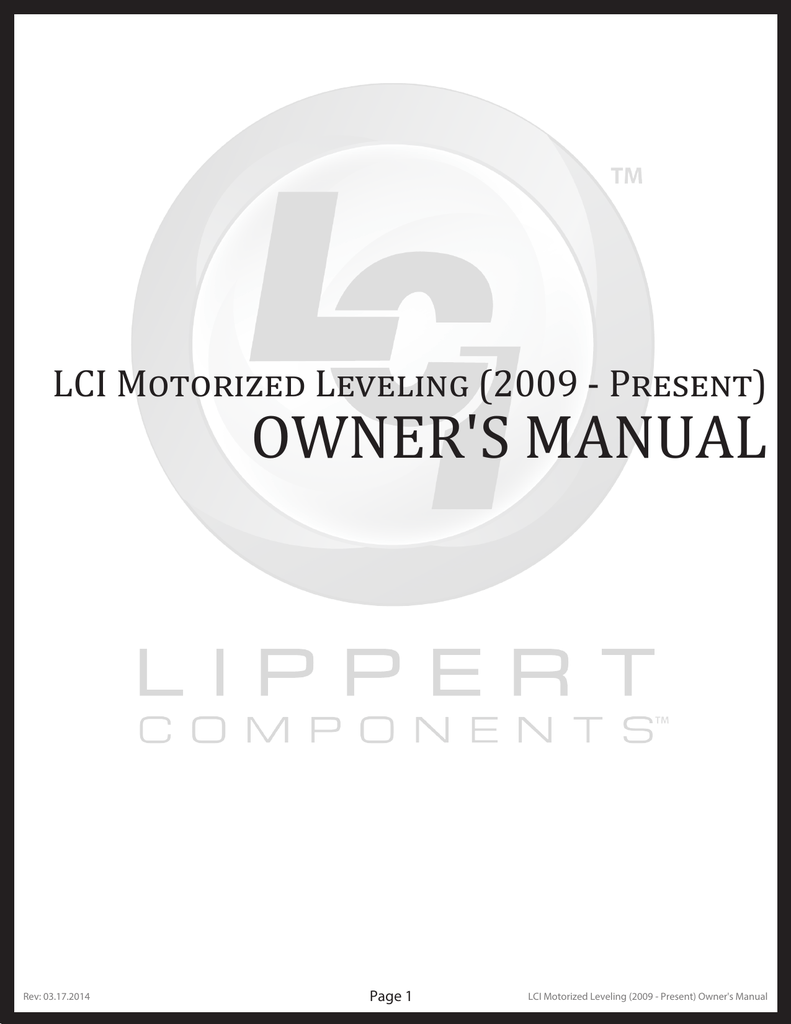 owner`s manual - Lippert Components