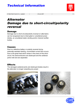 Alternator Damage due to short-circuit/polarity reversal