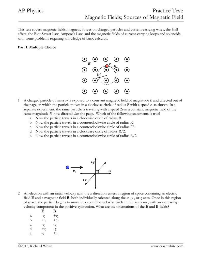 AP Physics Practice Test: Magnetic Fields