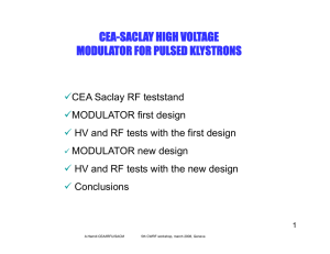 cea-saclay high voltage modulator for pulsed klystrons