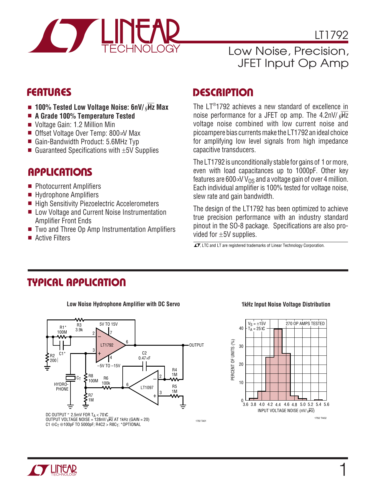 Lt1792 Low Noise Precision Jfet Input Op Amp 20v Ultra Amps