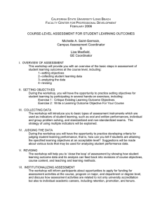Course-Level Assessment for Student Learning Outcomes, a