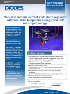 Very low cathode current 2.5V shunt regulator with industrial