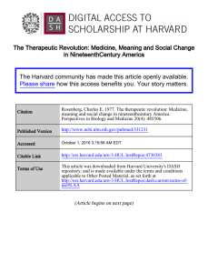 The Therapeutic Revolution: Medicine, Meaning and Social