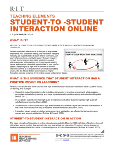 STUDENT-TO -STUDENT INTERACTION ONLINE