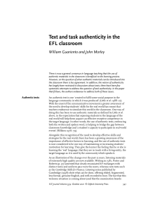 Text and task authenticity in the EFL classroom