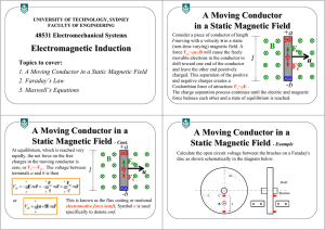 Electromagnetic Induction A Moving Conductor in a Static Magnetic