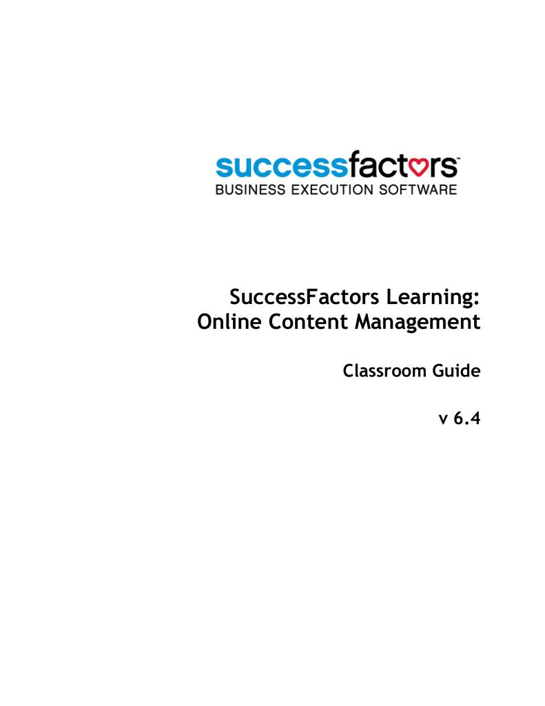SuccessFactors Learning: Online Content Management