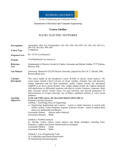 Course Outline ELE302: ELECTRIC NETWORKS