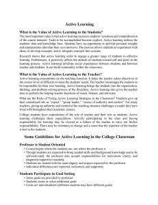 Active Learning Guidelines - Faculty Center for Teaching and Learning
