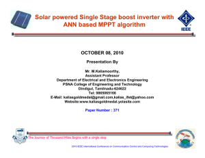 Solar powered Single Stage boost inverter with