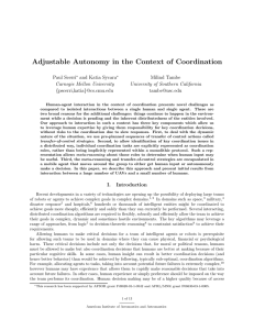 Adjustable Autonomy in the Context of Coordination