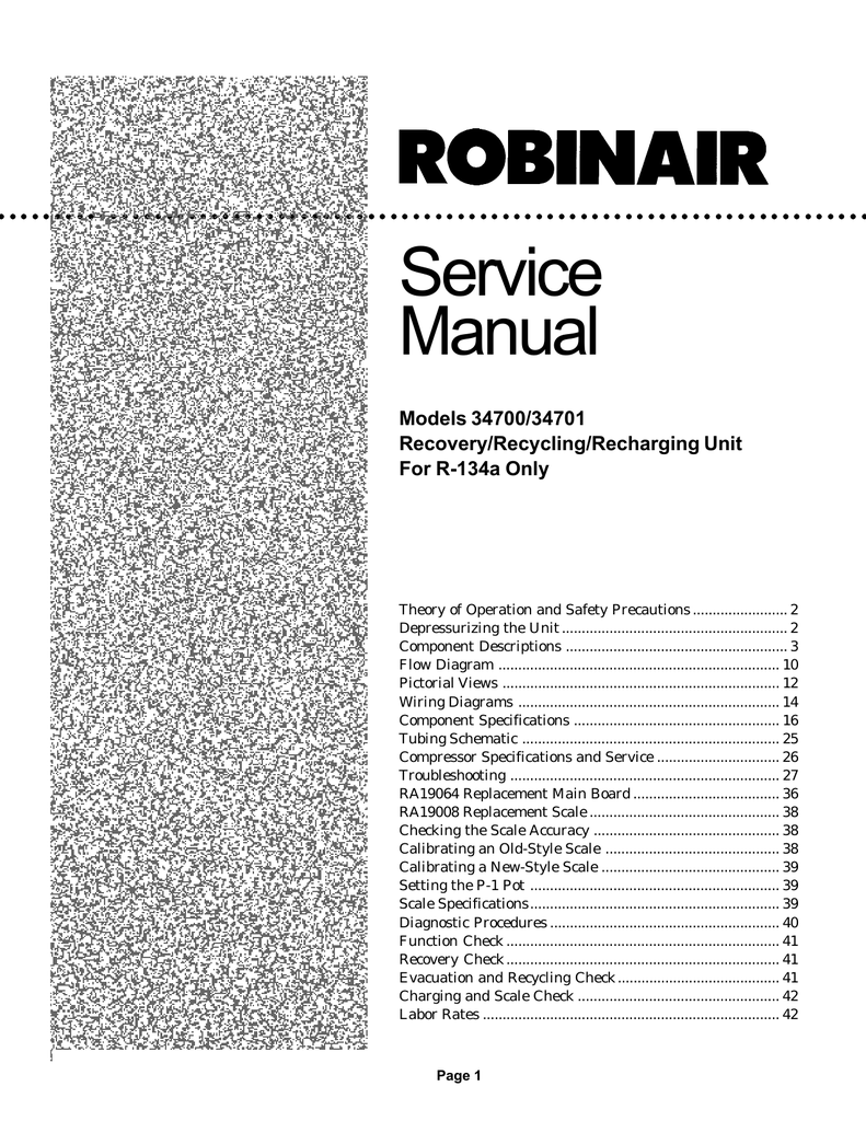 Robinair 34700 Manual 34988 Ac Unit Wiring Diagram Documents Similar To 17700 Operation Array Model 34701 Recovery Recycling Recharging For R Rh Studylib