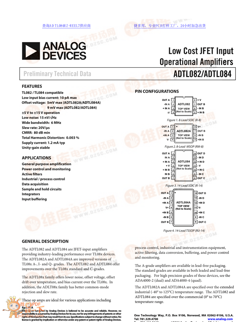 Low Cost JFET Input Operational Amplifiers ADTL082/ADTL084