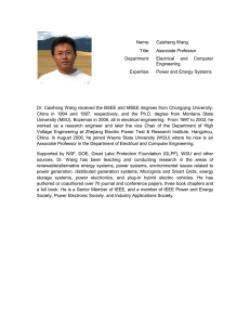 Name: Caisheng Wang Title: Associate Professor Department