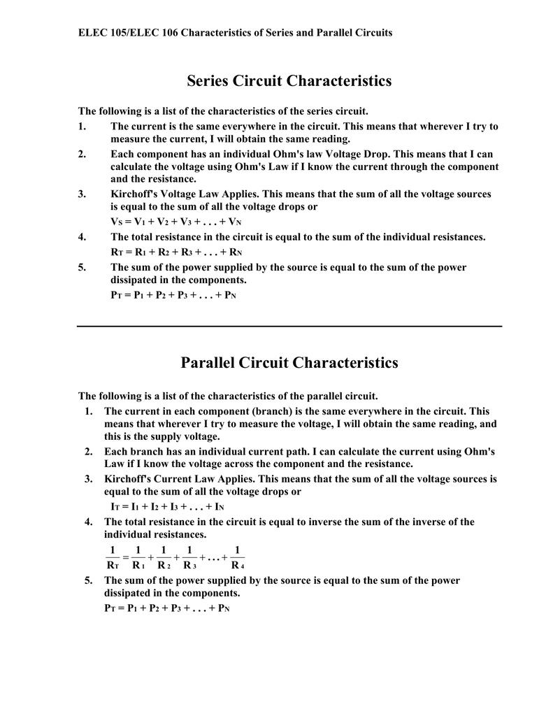 Characteristics Of The Series And Parallel Circuit