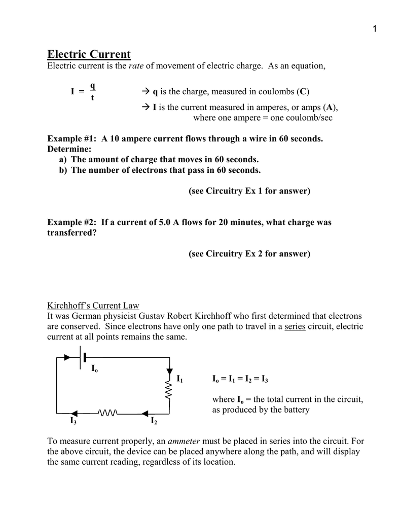 Electric Current Notes Example Of Series Circuit
