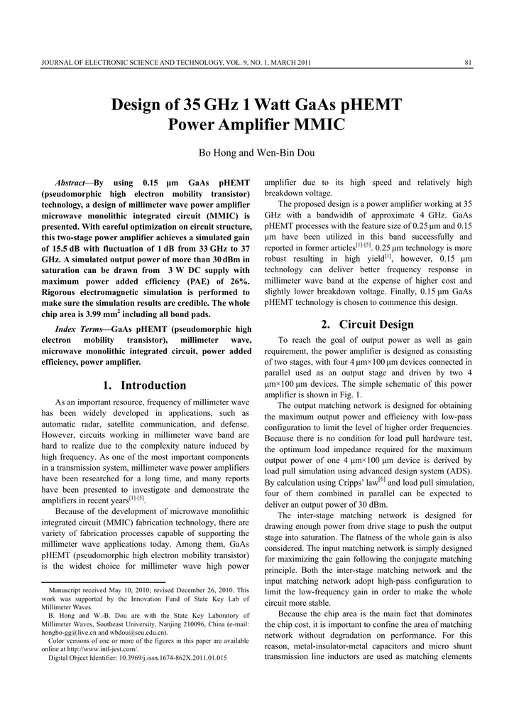 Design of 35GHz 1 Watt GaAs pHEMT Power Amplifier MMIC