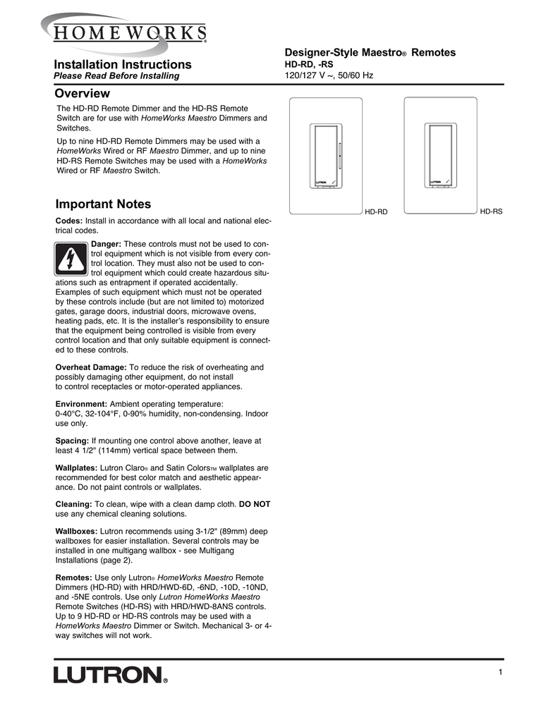 Installation Instructions Overview Important Notes on