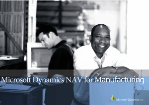 Microsoft Dynamics NAV for Manufacturing