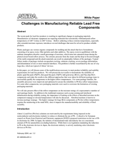 Challenges in Manufacturing Reliable Lead Free Components