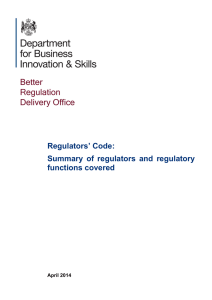 Regulators` Code: Summary of regulators and regulatory