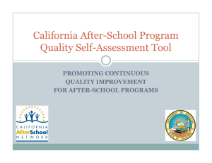 California After-School Program Quality Self