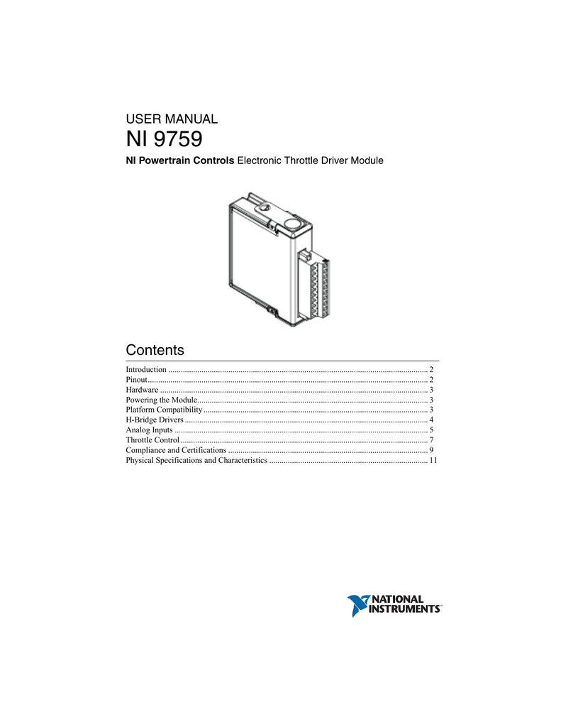 NI 9759 Electronic Throttle Driver Module User Manual