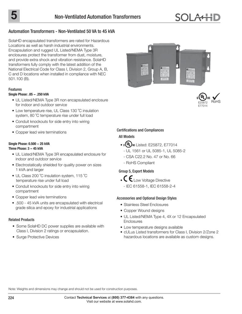 Solahds Automation Transformer Non Ventilated 50 Va To 45 Kva Wiring Diagram