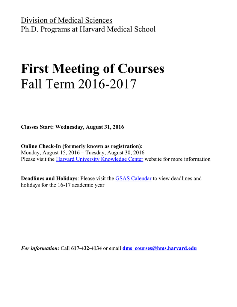 First Meeting Of Courses Fall Term 2016 2017