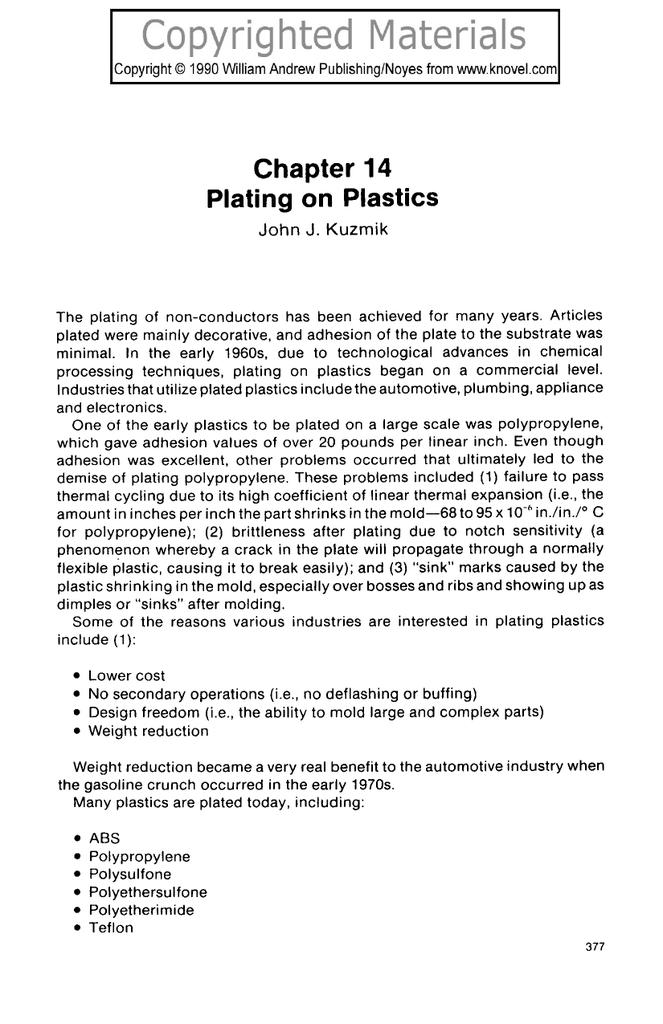 Chapter 14 Plating on Plastics