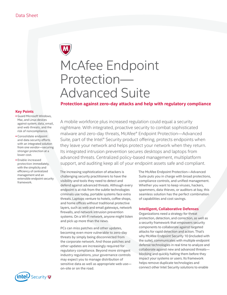 McAfee Endpoint Protection— Advanced Suite Data Sheet