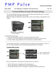 VeriFone310-300 Dip Switch Settings