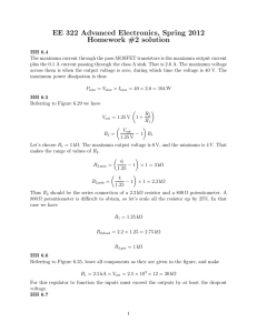EE 322 Advanced Electronics, Spring 2012 Homework #2 solution