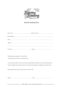 Boat Hire Booking Form