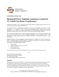 Hammond Power Solutions Announces Launch of UL Listed Cast
