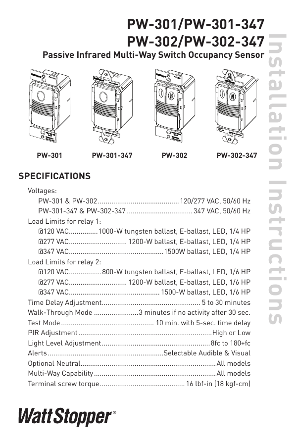Pw 301 And Pw 302 Installation Instructions