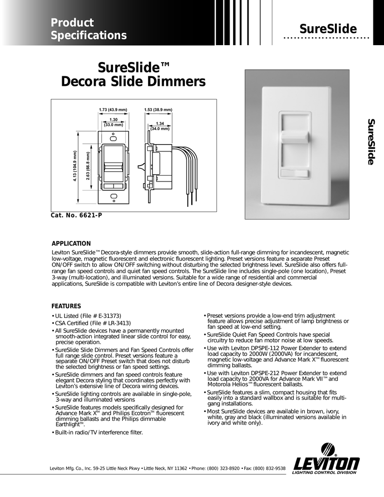 [DIAGRAM_5NL]  SureSlide™ Decora Slide Dimmers | Leviton 6633 P Wiring Diagram |  | Studylib